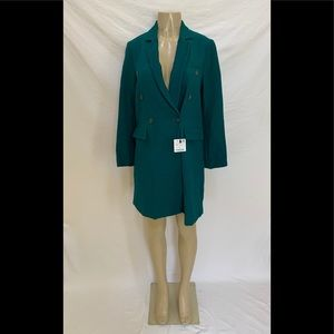 NWT Zara Basic Sz Medium Teal Color Blazer Jacket